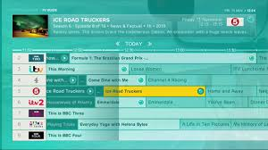 tv guide. fast forward moves the guide forwards a day - rewind back (great if you want to watch replay content) tv e