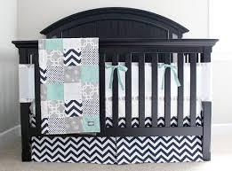 custom crib bedding mint navy and grey