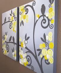 yellow and gray canvas wall art astonishing grey flowers birds textured acrylic decorating ideas 8
