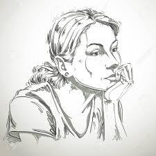 芸術的な手描きのベクトル繊細なメランコリックな静かな女の子のイメージ黒と白の肖像画感情テーマのイ