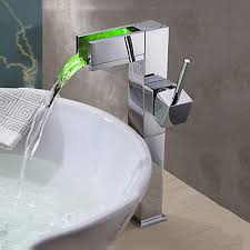product description newly modern tall bathroom sink faucet chrome finish waterfall