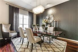 art deco dining room with chandelier