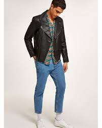 topman black leather biker jacket for men lyst