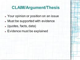the argumentative essay introducing argument the counterclaim 4 claim argument thesis your opinion or position on an issue must be supported evidence quotes facts data evidence must be explained