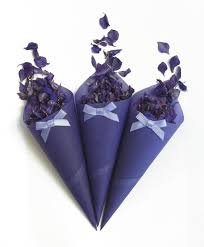 Paper Cones For Flower Petals The Confetti Blog Purple Wedding Themes Ideas Flowers And
