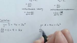 physics calculus kinematics equations for constant acceleration