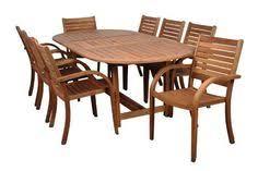 arizona 9 piece eucalyptus extendable oval patio dining set oval extendable table extended 8 stacking armchairs features high quality eucalyptus wood