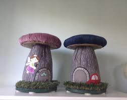 mushroom stool video game theme custom furniture. Delighful Video Mushroom Stools CUSTOM Applique Fairydoor Boy Or Girl Fairy House Chair  Stool On Video Game Theme Custom Furniture O