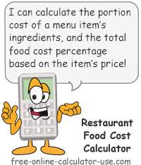 food percentage calculator restaurant food cost calculator for portion and menu costing