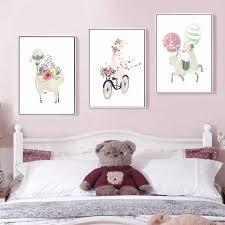 Custom Name <b>Cartoon</b> Swan Wall <b>Art Canvas Painting Unicorn</b> ...