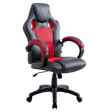 ctf sport racing gaming pu leather fabric swivel office chair in black red