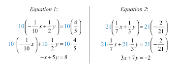 clearing fractions and decimals given a linear system where the equations