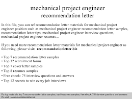 Letter Of Recommendation Mechanical Engineering Mechanical Project Engineer Recommendation Letter