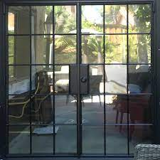 black framed steel glass doors