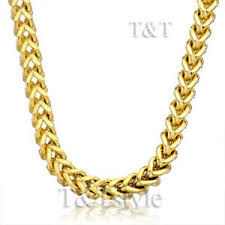 Gold Chain Width Size Chart Details About T T 7mm Stainless Steel Square Wheat Gold Chain 80g C16
