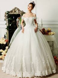 white tulle lace ball gown off the shoulder princess wedding dress
