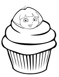 Small Picture Dora The Explorer Cupcake Coloring Page H M Coloring Pages