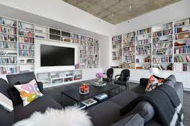 modern library furniture. Contemporary Large White Wooden Wall Library Shelves In Modern Apartment Living Room With Black Polished Rectangle Furniture