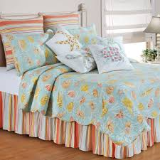comforter sets ocean themed bedding sets with soft blue yellow seashell printed quilt also colorful