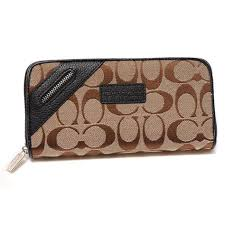 Coach Zip In Signature Large Black Wallets DUF