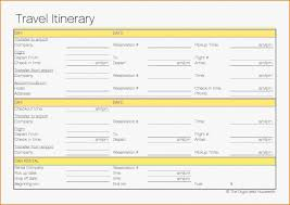 Professional Travel Itinerary Template Ic Vacation Free