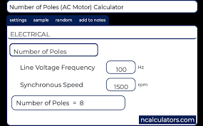 Rpm Conversion Chart Number Of Poles Ac Motor Calculator