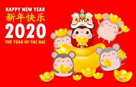 chinese new year card 2020 happy chinese new year greeting card group of little rat