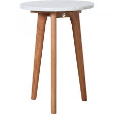 zuiver small round white marble and oak side table