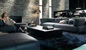 grey and black living room. luxurious glam black and grey living room design with natural stone walls a