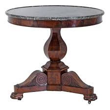 french charles x gueridon round table in mahogany with marble top circa 1825