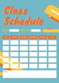 Class Planner Online Online Class Schedule Planner Template Fotor Design Maker