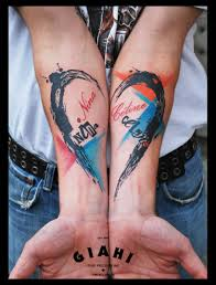 Both Hands Named Heart Trash Polka Tattoo By Live Two Best Tattoo