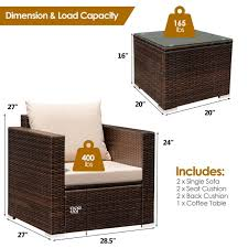 3pcs patio rattan furniture set joslle