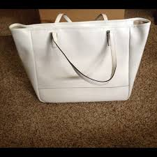 ... Coach Bags - 🚫SOLD🚫💋White Coach Saffiano Large City Tote💋 ...