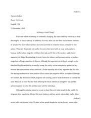 eng outline of music piracy essay mercer danny mercer  8 pages victoriahollersfinalpaper