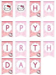 Happy Birthday Sign Templates Hello Kitty Happy Birthday Banner By Printabletreats Printable