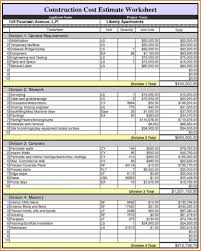 Project Estimate Template Excel Cost Breakdown Template Excel Best Free Construction
