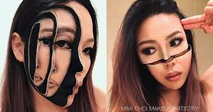 makeup artist mimi choy slices disjoints stretches blurs and otherwise radically transforms her own face in stunningly realistic optical illusions using