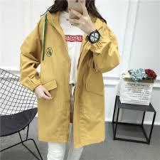 women fashion trench coat o neck collar long autumn sweet girl school wear solid color slim coats