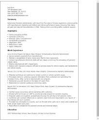 Automotive Warranty Administrator Resume Template Best Design