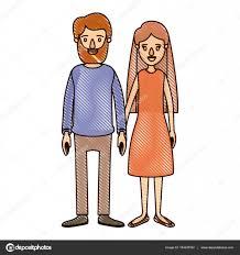 色クレヨン ストライプ漫画全身カップル女性のドレスに長い髪と