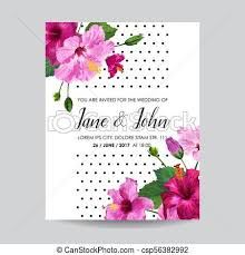 Wedding Invitation Template With Purple Hibiscus Flowers Save The Date Floral Card For Greetings Anniversary Birthday Botanical Design Vector