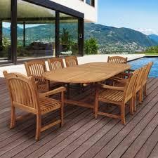 teak patio set. Amazonia Teak Giacomo 9-piece Double Extendable Oval Patio Dining Set