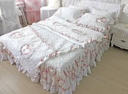 unique white quilting&duvet cover red heart ruffle bedspread 3pcs ... & unique white quilting&duvet cover red heart ruffle bedspread 3pcs/4pcs  bedding set king luxury lace Adamdwight.com