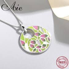 new 925 sterling silver diy gift sparkling cz beautiful pattern colourful enamel fine necklace pendant party