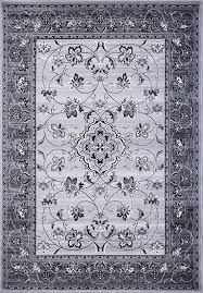 persian classic gray area rug fl vines in black white gray traditional small medallion ivory silver border traditions