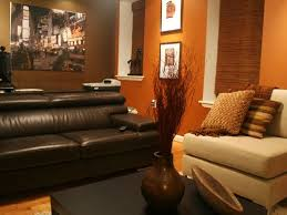 Burnt Orange And Brown Living Room Concept