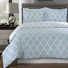 modern moroccan light blue and white cotton duvet comforter cover and shams set geometric trellis