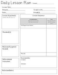 Lesson Plan Templates High School Daily Lesson Plan Template Editable Tpt
