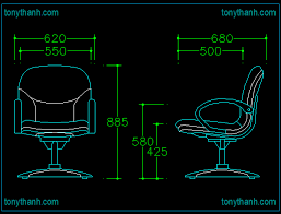 front view and side view of office chair cad block with dimension details